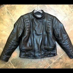 Men's genuine leather motorcycle jacket.